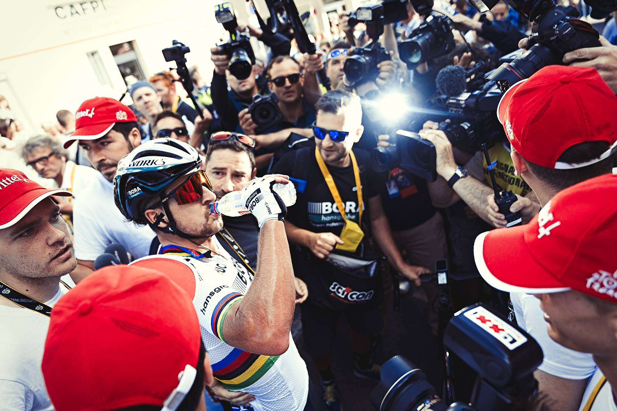 Peter Sagan - momente dupa victoria de etapa