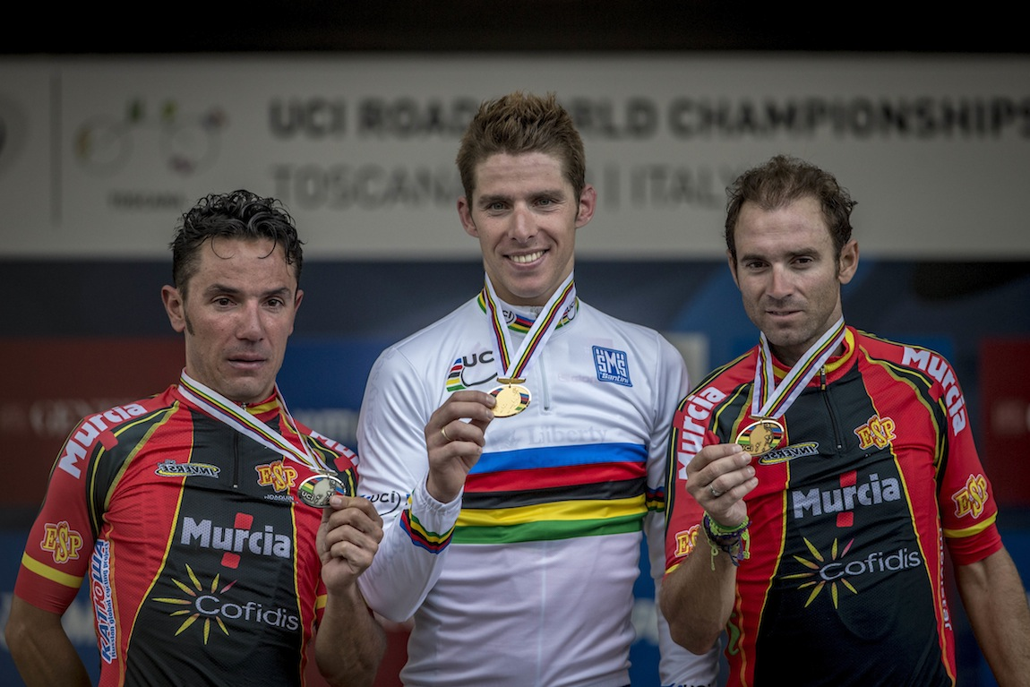 l to r Rodriguez 2nd Rui COSTA 1st and Valverde 3rd World Road Race Championships