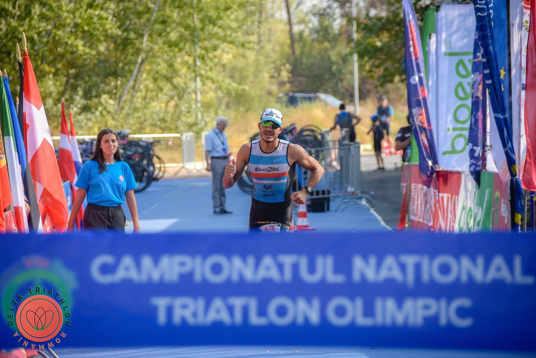 Alex Ion la cativa metri de titlul national la triatlon olimpic in 2019.