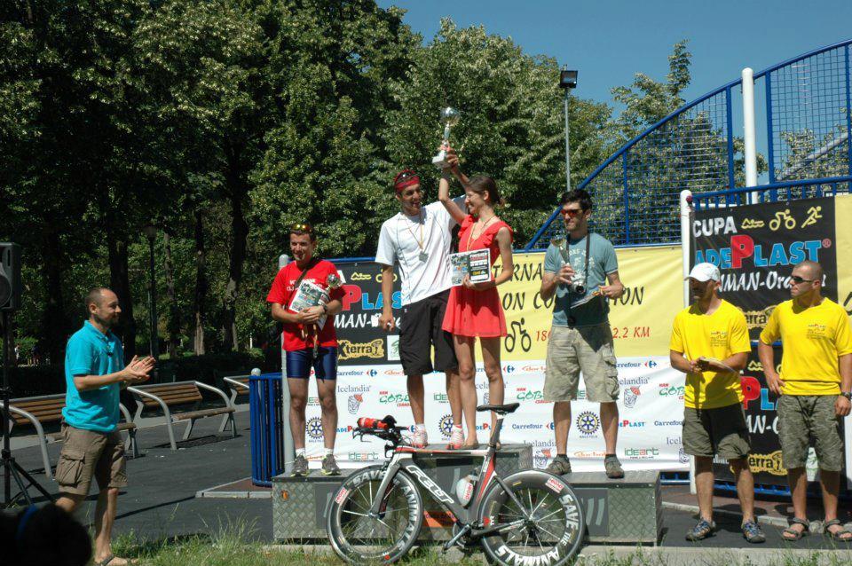 Alexandru Diaconu - Laura Baciu - podium - Ironman Oradea 2012
