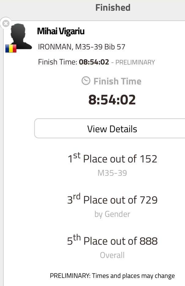 Mihai Vigariu - Ironman Tallinn 2019 - record national - cifre